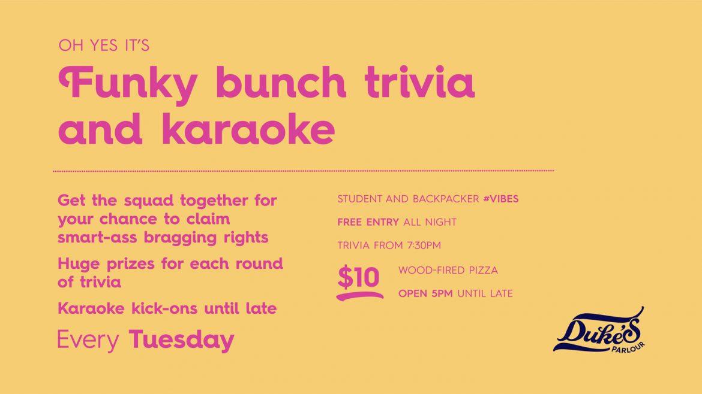 Tuesday Trivia and Karaoke at Duke's Parlour