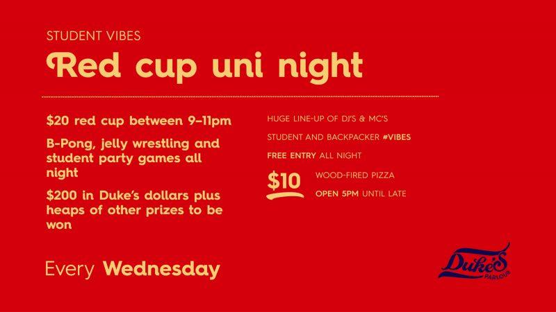 Duke's Parlour Red Cup Uni Night